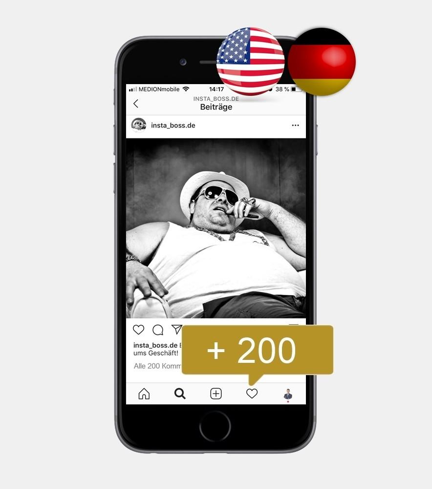 200 Instagram Kommentare - Deutsch & Englisch kaufen